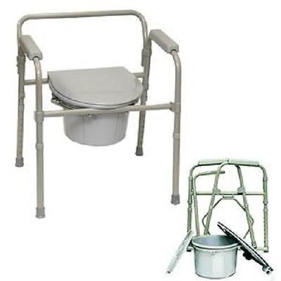 folding steel commode chair advanced durable medical equipment. Black Bedroom Furniture Sets. Home Design Ideas